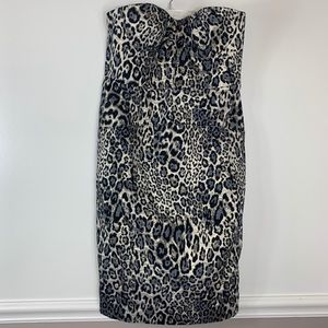 J. Crew dress strapless animal print fitted sz 12